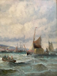 British Marine scene with fishing vessels at the shore line