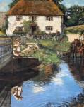 Children fishing by a bridge in Newlyn, Cornwall