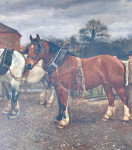 Victorian English 19th century farm yard scene with shire horses and a couple