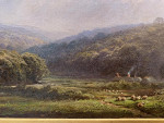 English Summer 19th century Victorian landscape with cottage