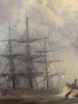 English 19th century style fishing boats off of the coast