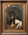 Victorian Portrait of two dogs seated together, one a poodle and the other a terrier.