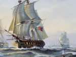 Marine Battle scene between American and English warships, 20th Century