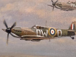 Two Spitfire fighter planes flying over the English countryside