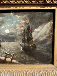 Ship leaving shore, with moon light