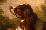 Old Master portrait of a dog with fruit in a landscape