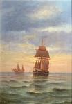 French 19th century marine scene at Sunset