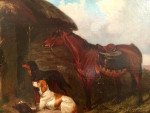 English Setters and Horse by a Cottage