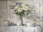 Roses on a Table with blue flowers