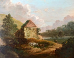 Extensive English landscape with watermill and cows grazing