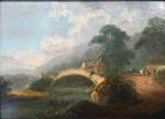 English landscape with a bridge over a river