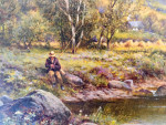 Extensive British landscape with fisherman and harvest scenes