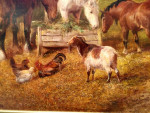 Barnyard with horses, ducks, sheep. chickens and a goat feeding