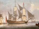 English warship off of the coast