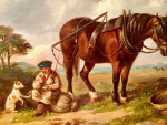 Resting after a hard days work with the plough horse.