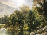 Extensive river landscape with lady and dog in Wales