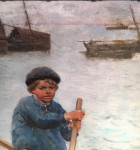 Young Boy working his boat