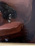 19th Century portrait of a two Spaniels seated in an interior