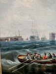 19th Century English yacht and warship off Portsmouth harbor, UK