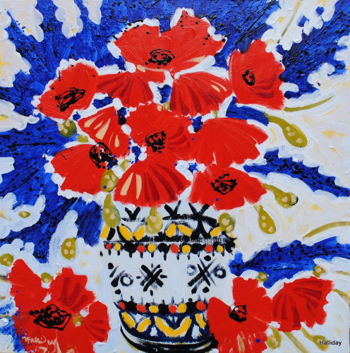 Lavender and Poppies in a Moroccan vase