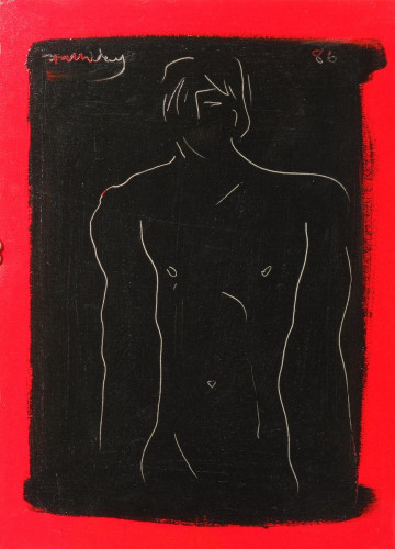 Red Adonis, acrylic