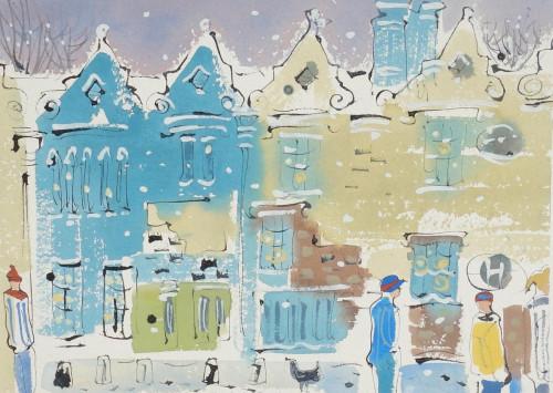St. John's College, Oxford under snow