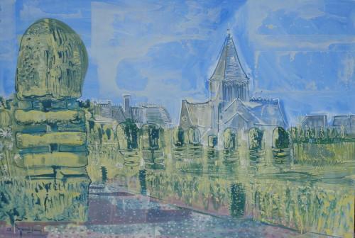 Church and topiary at Villandry