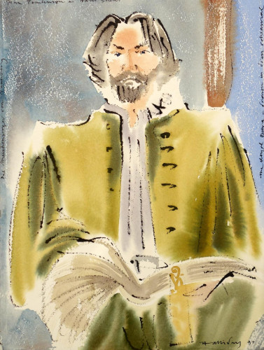 Sir John Tomlinson as Hans Sachs, R.O. 1997. We offer an unrivalled collection of paintings made at the Opera. These paintings are all derived from original drawings, without the use of a camera.