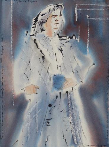 Hvorostovsky as Count Almaviva, Nozze di Figaro, gouache on paper, 1998