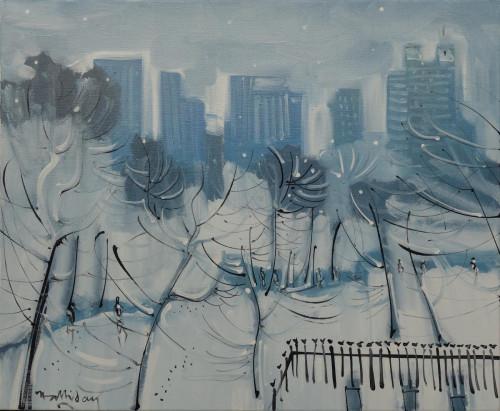 Central park, New York under snow