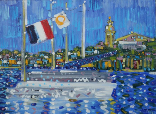Yachts at St. Trop, oil on canvas