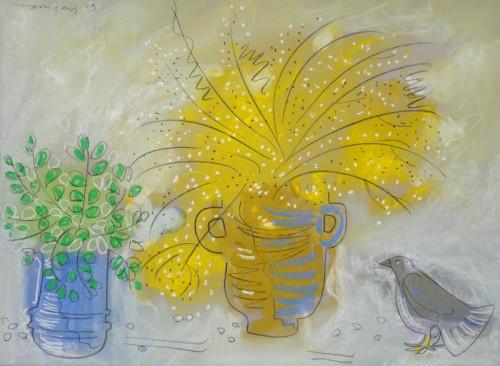 Bird with Mimosa