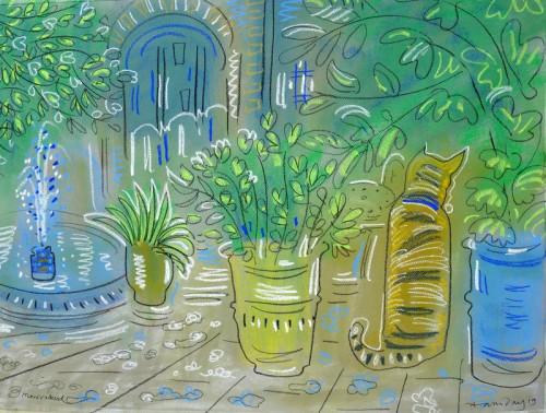Cat in the cafe courtyard, Jardin Majorelle
