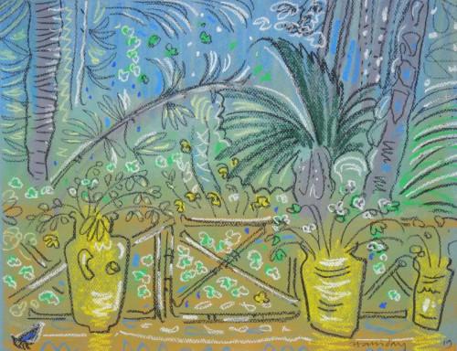 Yellow pots at Jardin Majorelle
