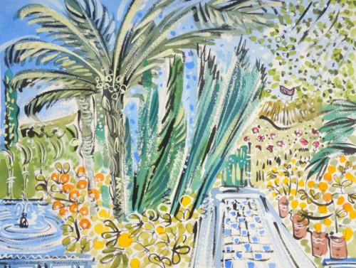 Villa Oasis, fountain and oranges, Jardin Majorelle, Marrakesh