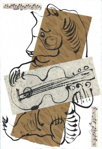 A bear playing a guitar