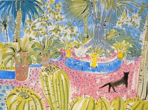 Cacti and Cat Jardin Majorelle