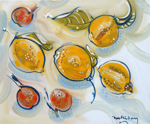'Lemons from Nice' this small oil on canvas is typical of the bright and colourful oils which can be viewed in the 'Still Life' part of the website.