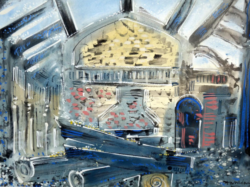 St. George's Hall after The Fire , gouache on paper, 56cm x 76cm. 1992