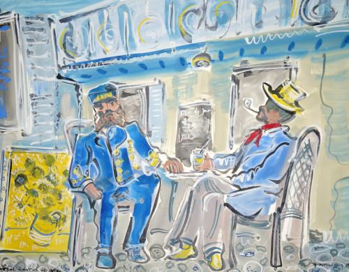 Van Gogh and M. Roulin, the postmaster at Arles.