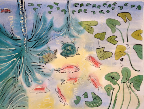 'Fish, turtles and reflected palms'. This is another painting inspired by the ponds and fountain at Jardin Majorelle. Please ask to view more of these water-themed pictures.