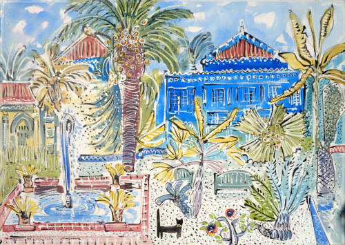 'The Villa Oasis'. We have a collection of paintings made at the Villa Oasis, home of Yves Saint Laurent in Marrakesh. Search 'Majorelle'.