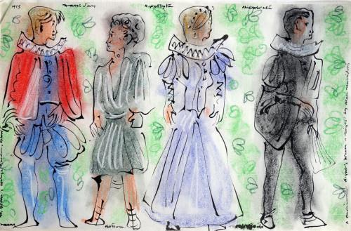 Costume designs for 'A Midsummer Night's Dream', St. John's College, 1975.