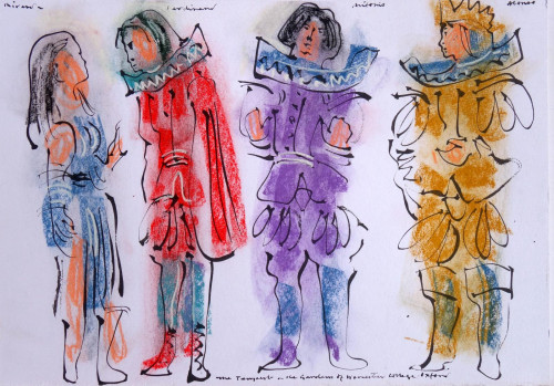 Costume designs for 'The Tempest', Worcester College, 1978.