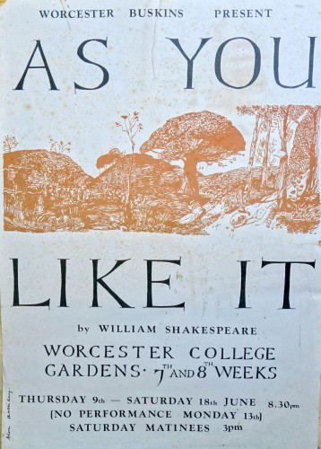 Poster for 'As You Like It',  Worcester Buskins, 1976