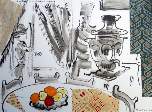 Chekhov's Samovar. Please ask to see the small collection of drawings and collages made following the artist's visit to Chekhov's Dacha in Yalta.