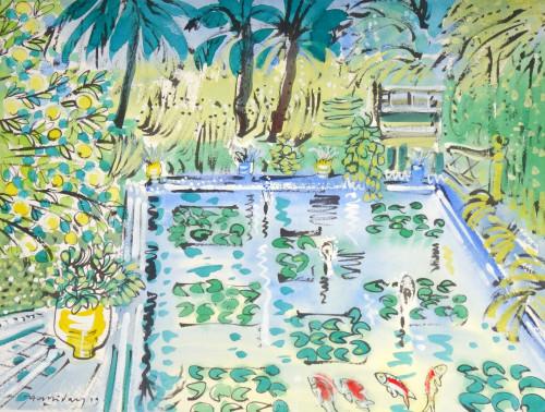 "Alan Halliday, Villa Oasis, The Pond, w/c on paper, 22"" x 30"". 2019"