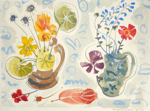Blue sage, nasturtium, rose hips, persimmon leaf, chamomile flower. and seed heads.