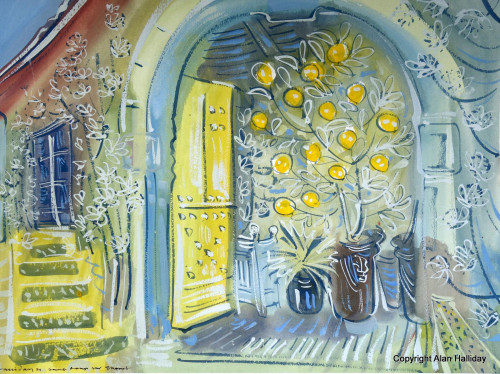 'Open door of the Orangerie'. To see more paintings made at the Chateau de St. Loup please search 'Gardens Paintings' from the menu.
