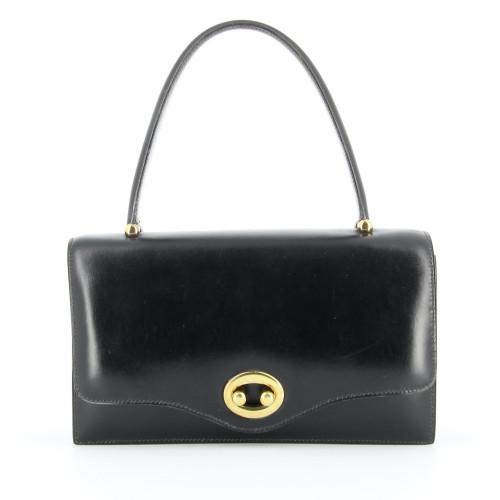 Hermes vintage black box leather Boutonniere bag